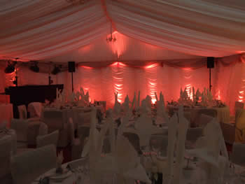 red venue lighting in wedding Marquee,