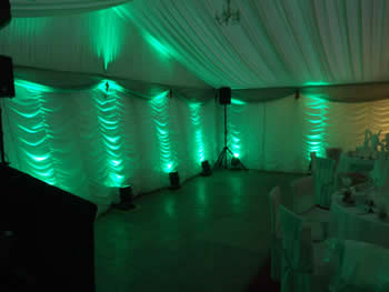 green venue lighting in wedding Marquee,