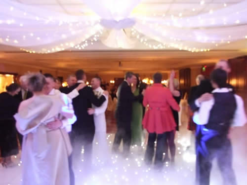 Dance floor with low fog at worsley marriot fora civil partnership
