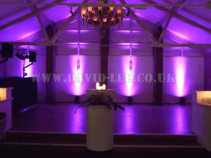 Purple Venue lighting in Barlte hall wedding venue