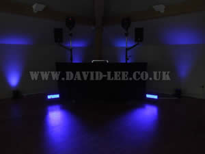 Blue Venue lighting in White hart wedding venue