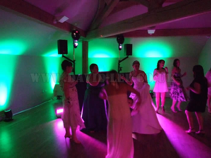 Wedding dj and lighting with venue lighting,