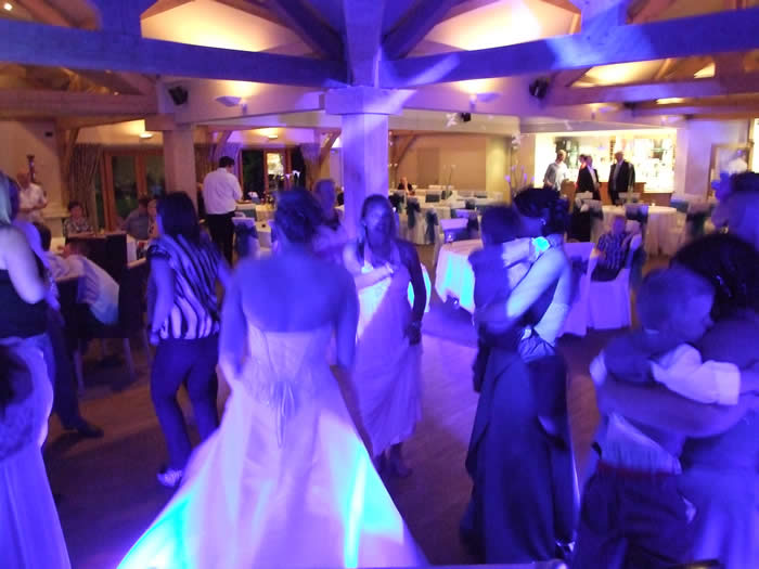 Venue lighting on the dance floor for wedding party