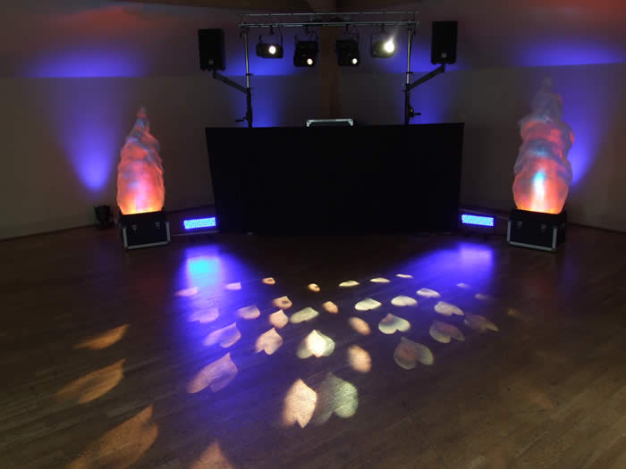 Wedding dj at the white hart with flame lights and hearts