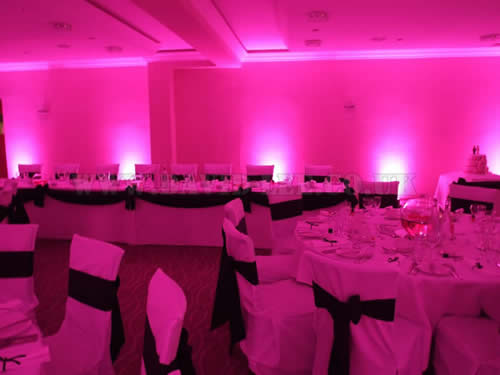 venue lighting in Pink at Clough Manor