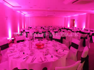 Pink Venue lighting in clough manorl wedding venue