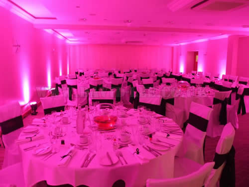 up-lighting the clough manor in pink