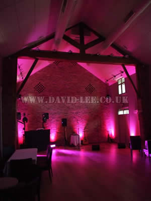 Pink venue lighting in Arley Hall