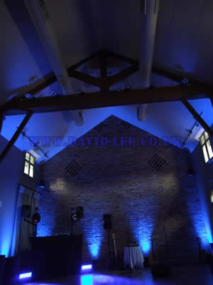 Arley hall, wedding venue in blue with venue lighting