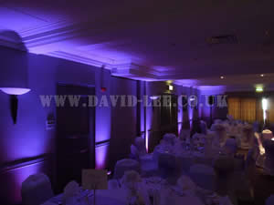 Purple Venue lighting in Cheadle Village hotel wedding venue