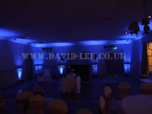 blue Venue lighting in Barlte hall wedding venue