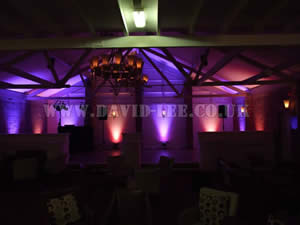 orange and Purple Venue lighting in Barlte hall wedding venue