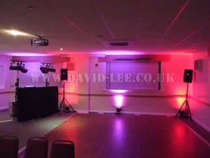 multiple colour Venue lighting in rochdale rugby club wedding venue
