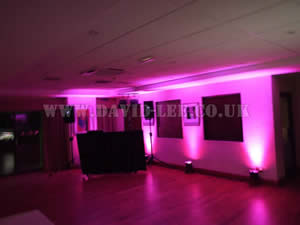 pink Venue lighting in moorside grange wedding venue