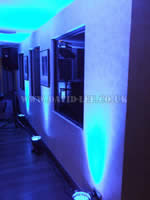 Blue venue lighting in Moorside grange
