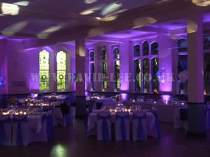 Purple Venue lighting in cheadle school wedding venue