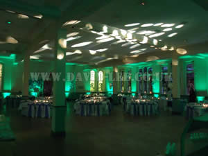Green Venue lighting in cheadle school wedding venue