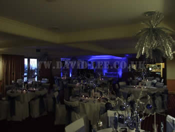 Dukinfield Golf Club with blue venue lighting for a wedding