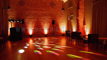 Arley Hall with orange venue lighting