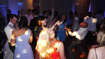 Wedding guests dancing at Arley Hall