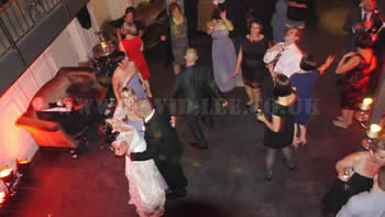 Bride and groom dancing at Great John Sreet Hotel in manchester city center