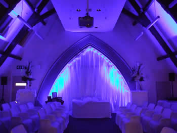 blue venue lighting at Talking Point, Saddleworth