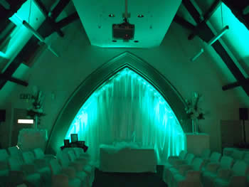green venue lighting at Talking Point, Saddleworth