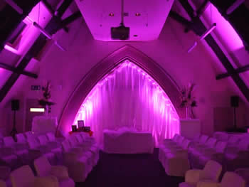 pink venue lighting at Talking Point, Saddleworth