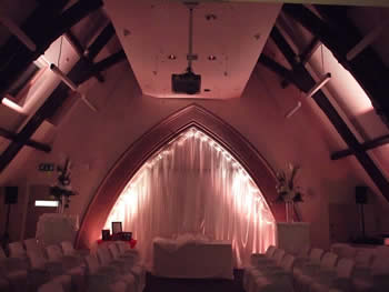 silver / white venue lighting at Talking Point, Saddleworth