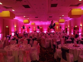 pink venue lighting at The Park Royal hotel, Cheshire