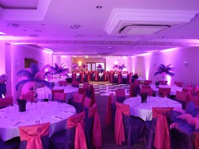 purple Venue Lighting at clough manor saddleworth