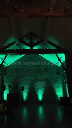 Arley Hall wedding green lighting