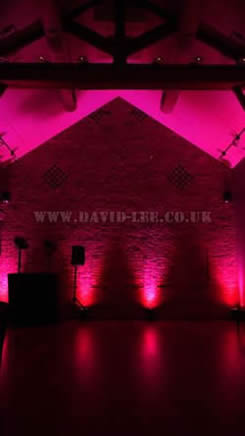 Arley Hall wedding Pink lighting