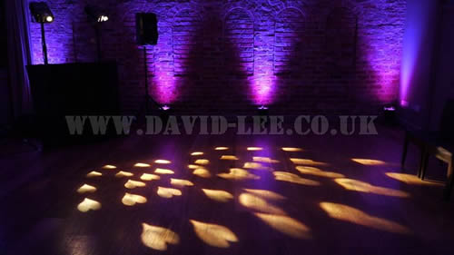 Arley Hall  wedding dj with hearts and purple lighting