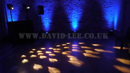 Arley Hall  wedding dj with hearts and blue venue uplighting