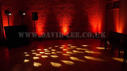 Arley Hall  wedding dj with hearts and orange venue uplighting